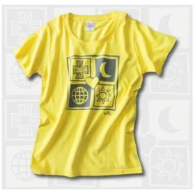 幸せを呼ぶユニバース レディースTシャツ イエロー 受注製作 WM、WL 2サイズ