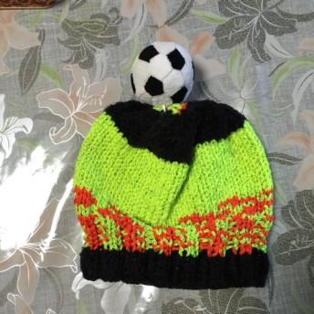 ベビー ニット帽子 サッカー