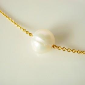 【14kgf】ホワイト淡水パールの1粒ネックレス ♯03