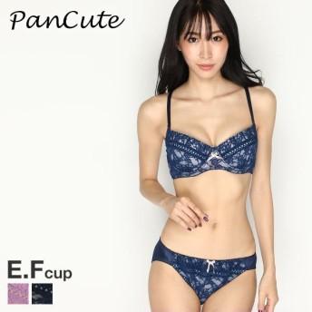 (パンキュート)PANCUTE 大きいサイズ ロマンティックレース 3/4カップ ブラショーツ セット グラマー EF
