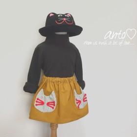 90size ネコちゃんポケットのコーデュロイスカート