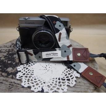 黒灰色花柄 カメラストラップ