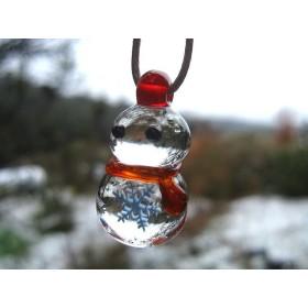 【とんぼ玉】雪だるまのペンダント【ガラス工芸】【雪の結晶】