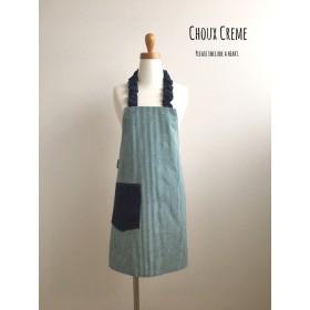 ひとりで着られる キッズエプロン&三角巾セット 細ストライプ ブルー