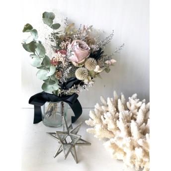 星月猫★「淡いピンクの薔薇スワッグ」ドライフラワーバラとユーカリのスワッグ 花束