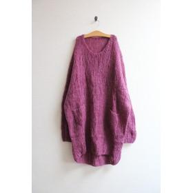 手編みモヘアロングセーター パープル