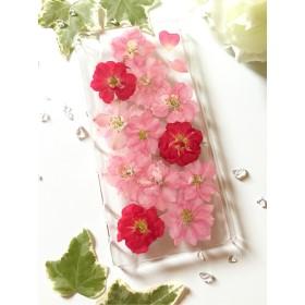 【全機種対応】ピンクローズの押し花スマホケース