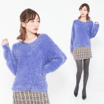 ニット・セーター - CLOTHY ■フェザーヤーン■無地 Vネック 長袖 ニット (M/L)
