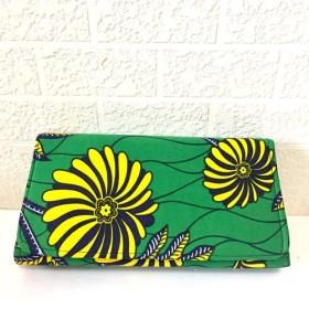 アフリカン クラッチバッグ ボタニカル花柄グリーン黄色ネイビー 2wayパーティーバッグ 秋バッグ 秋色 秋柄 お呼ばれ