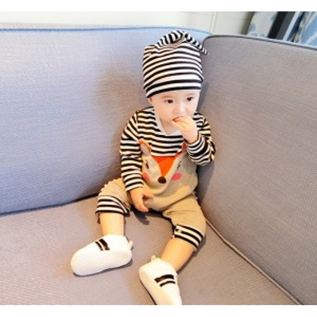 68736b270c743 カバーオール 新乳児 ベビー 赤ちゃん キッズ 男の子 女の子 ボーダー ストライプ 春秋 長袖 ブラック オレンジ