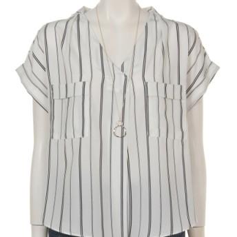 79%OFF archives (アルシーヴ) フレンチ袖ポケット付スキッパーブラウス ホワイト/ブラック