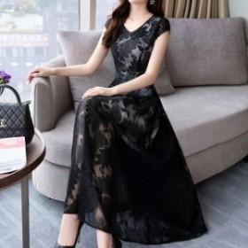 パーティードレス ドレス ロングワンピース Vネック ワンピース マキシ丈 ロング丈 リゾートドレス 韓国 ファッション 韓国 ドレス 韓国