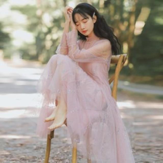 【全品送料無料】2019春新着 幻のカラー キラキラ 大きい裾幅 マキシ丈チュールワンピース ロングワンピ ピンク