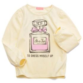ANNAALICE(アンナアリス) パフスリーブ香水プリント長袖Tシャツ クリーム 女の子 トップス 1009-1506C