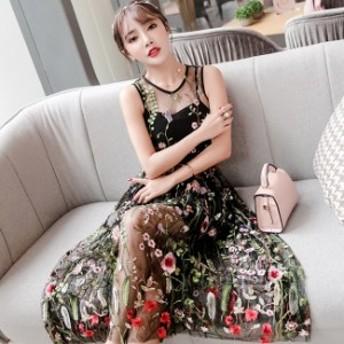 パーティードレス 結婚式 お呼ばれドレス 韓国ドレス 韓国 ファッション ひざ丈 シースルー 刺繍 エレガント 大人可愛い 秋冬 結婚式 春