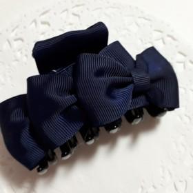 トリプルリボンのバンスクリップ(紺)