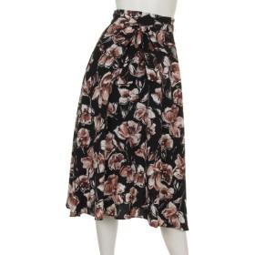 70%OFF INTERPLANET (インタープラネット) デシンフラワープリントスカート 花柄 ブラック