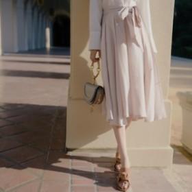 ウエストリボンが可愛い スカート フェミニン おしゃれ