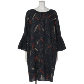 57%OFF FANAKA (ファナカ) ボタニカル刺繍フレアスリーブワンピース ネイビー