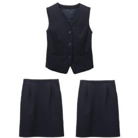 【事務服。ベストスーツ】3点セット(ベスト+2タイトスカート)(選べる2レングス) (大きいサイズレディース)事務服,women's suits ,plus size