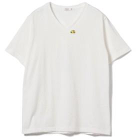BEAMS LIGHTS / ワンポイント 刺繍 VネックTシャツ メンズ Tシャツ WHITE×車 L