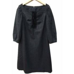 アナイ ANAYI ワンピース ひざ丈 ギャザー フリル ウール 長袖 38 グレー A01807 レディース