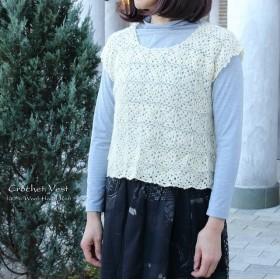 クロシェ ベスト 手編み ウール モチーフ編み フレンチスリーブ ホワイト YS-405-WH