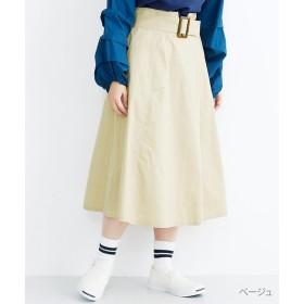 【30%OFF】 メルロー 配色ステッチベルトデザインフレアスカート レディース ベージュ FREE 【merlot】 【セール開催中】