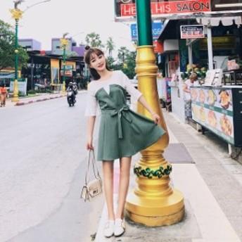 韓国 ワンピース 韓国 ファッション ワンピース ミニ丈 ミニワンピ 重ね着風 ビスチェワンピース フレアスリーブワンピース 切り替えワン