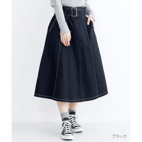 【40%OFF】 メルロー 配色ステッチベルトデザインフレアスカート レディース ブラック FREE 【merlot】 【セール開催中】