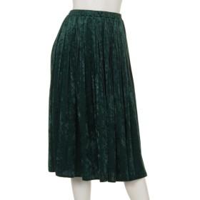 80%OFF CLEAR IMPRESSION (クリアインプレッション) クラッシュベロアプリーツスカート グリーン