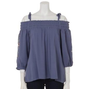 62%OFF Bou Jeloud (ブージュルード) 袖刺繍オフショルブラウス ブルー