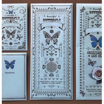 A【封筒&ぽち袋】蝶とフラワーオブライフ/8枚入り/ハンドメイド/ライトブルー/ポチ袋
