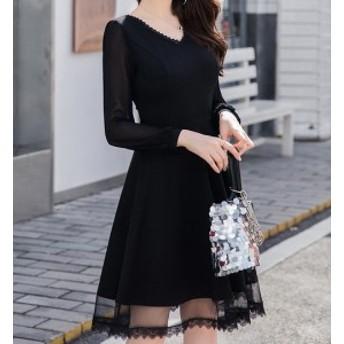 [送料無料] サイズ豊富 レディース ドレス ワンピース 透け感 シースルー 大人可愛い ひざ丈 お呼ばれ パーティー 大きいサイズ 長袖 結