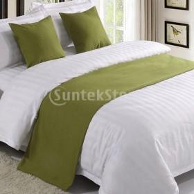 寝室のホテルの結婚式のためのリネンコットンベッドランナースカーフグリーン -  50×210 cm