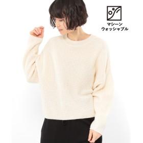 (LAKOLE/ラコレ)【マシーンウォッシャブル】5Gワッフルクルーネックプルオーバー/ [.st](ドットエスティ)公式