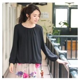 シフォン前タック9分袖ブラウス (ブラウス),Blouses, Shirts