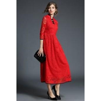 パーティドレス 結婚式 同窓会 二次会 ワンピース ロング 袖あり 赤 20代 30代 個性的 体型カバー お呼ばれ チャイナ風 レース