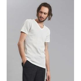 5351プール・オム ベアワッフル ボーダー Vネック 半袖 Tシャツ メンズ ホワイト 50 【5351POUR LES HOMMES】