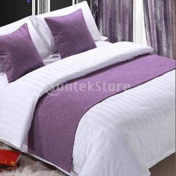 寝室のホテルの結婚式のためのリネンの綿のベッドランナーのスカーフパープル-50 x 210 cm