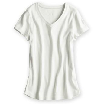 UVカット綿100%フライス素材Vネック半袖Tシャツ レディース