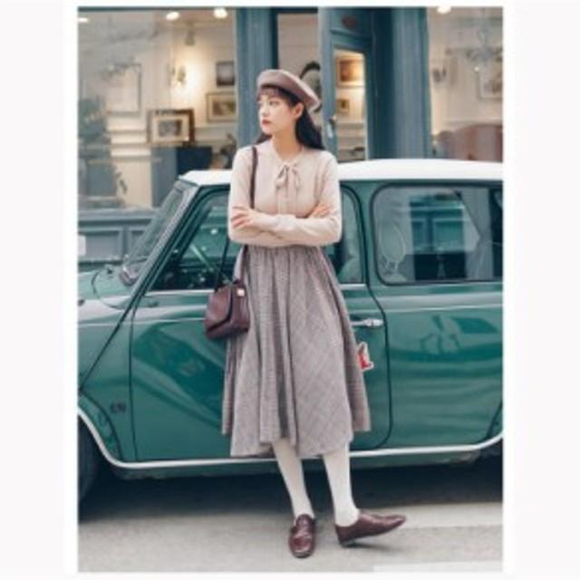 チェック スカート マキシ 秋冬 ロングスカート ガーリー 可愛い おしゃれ 上品 綺麗め シック 英国風