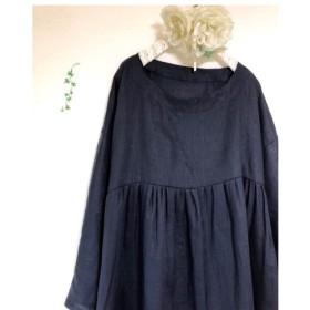 リネン100% ギャザーワンピース。(濃紺) 長袖 ロング丈