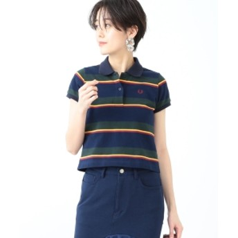 FRED PERRY × Ray BEAMS / 別注 ストライプ カノコ ポロシャツ◇ レディース ポロシャツ NAVY/GREEN ONE SIZE