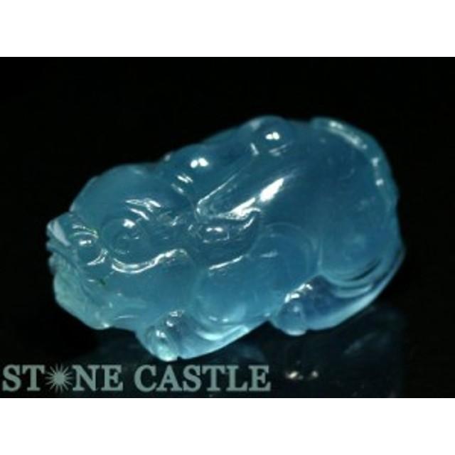 ☆置物一点物☆【天然石 彫刻置物】貔貅(ひきゅう) アクアマリン (5A) No.07 パワーストーン