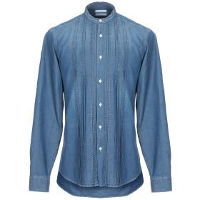 《期間限定 セール開催中》PAOLO PECORA メンズ デニムシャツ ブルー 42 コットン 100%