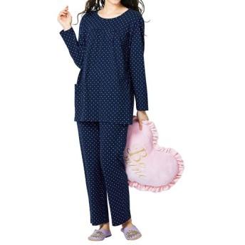 【レディース】 綿100%Tタイプパジャマ(ドット柄) ■カラー:ネイビーブルー ■サイズ:6L,M,L,LL,3L,5L