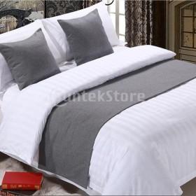 寝室のホテルの結婚式の灰色 -  50x210cmのためのリネンの綿のベッドランナーのスカーフ