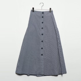 スタイルブロック STYLEBLOCK 先染めギンガムチェックフロント釦スカート (ネイビー)