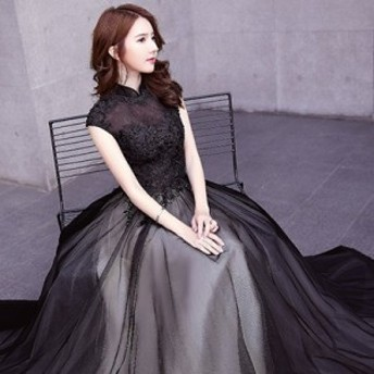 [送料無料] ワンピース ロングドレス レディース ドレス オケージョンドレス スタンドカラー ノースリーブ 刺繍 チュール 結婚式 パーテ